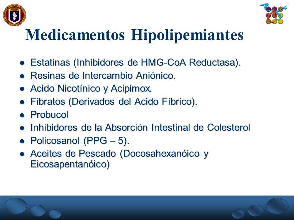 Medicamentos Hipolipemiantes Estatinas (Inhibidores de HMG-CoA Reductasa). Estatinas (Inhibidores de HMG-CoA Reductasa). Resinas de Intercambio Anióni