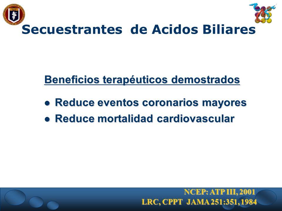 Beneficios terapéuticos demostrados Reduce eventos coronarios mayores Reduce eventos coronarios mayores Reduce mortalidad cardiovascular Reduce mortal