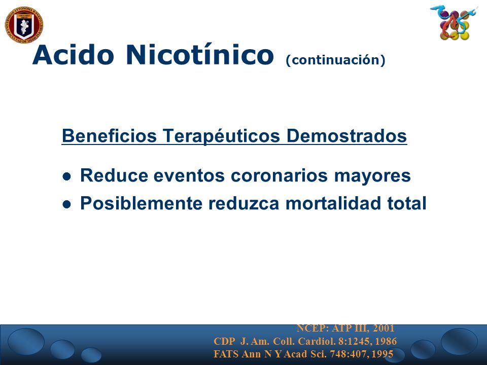 Acido Nicotínico (continuación) Beneficios Terapéuticos Demostrados Reduce eventos coronarios mayores Posiblemente reduzca mortalidad total NCEP: ATP