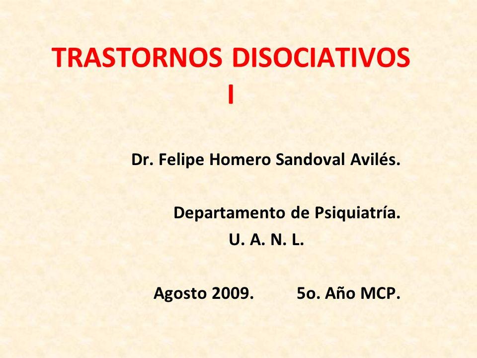 Disociación Definición Como componente psicológico normal (Estrés agudo-ideoafectivo) Como mecanismo de defensa Como función patológica Aspectos neurobiológicos