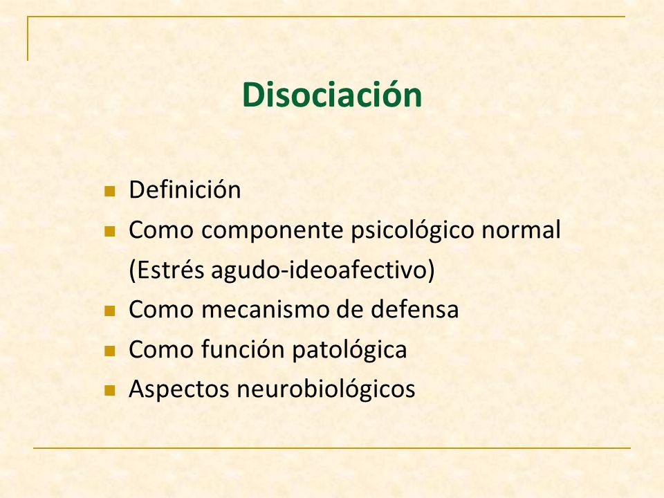 Disociación (aspectos psicológicos) Janet Recuerdos del trauma Persisten como fenómenos no asimilados Funciones que escapan al control central Estático Freud Represión Ambivalencia Dinámico