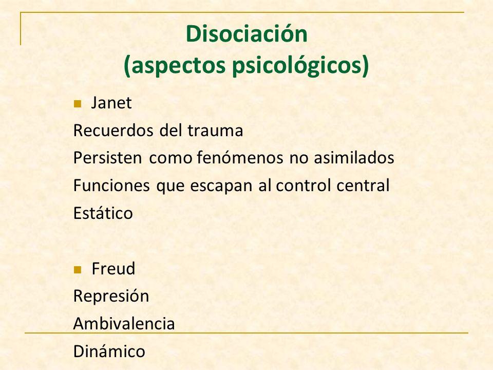 Disociación Formas patológicas vs funciones integrativas normales Perturbaciones: Percepción Memoria Identidad Conciencia