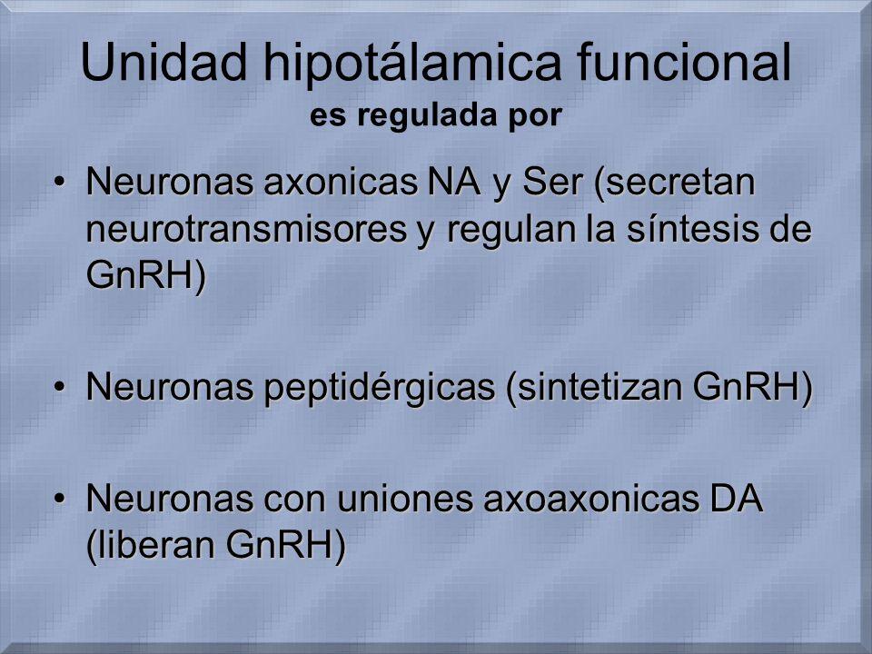 Unidad hipotálamica funcional es regulada por Neuronas axonicas NA y Ser (secretan neurotransmisores y regulan la síntesis de GnRH)Neuronas axonicas N