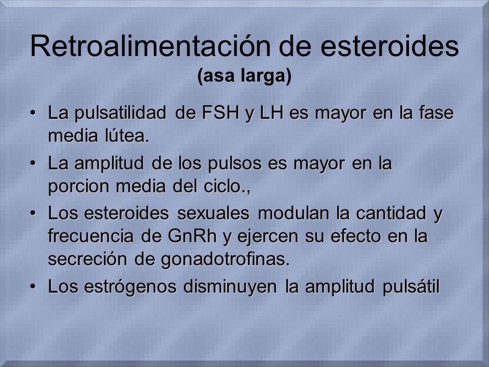 Retroalimentación de esteroides (asa larga) La pulsatilidad de FSH y LH es mayor en la fase media lútea.La pulsatilidad de FSH y LH es mayor en la fas