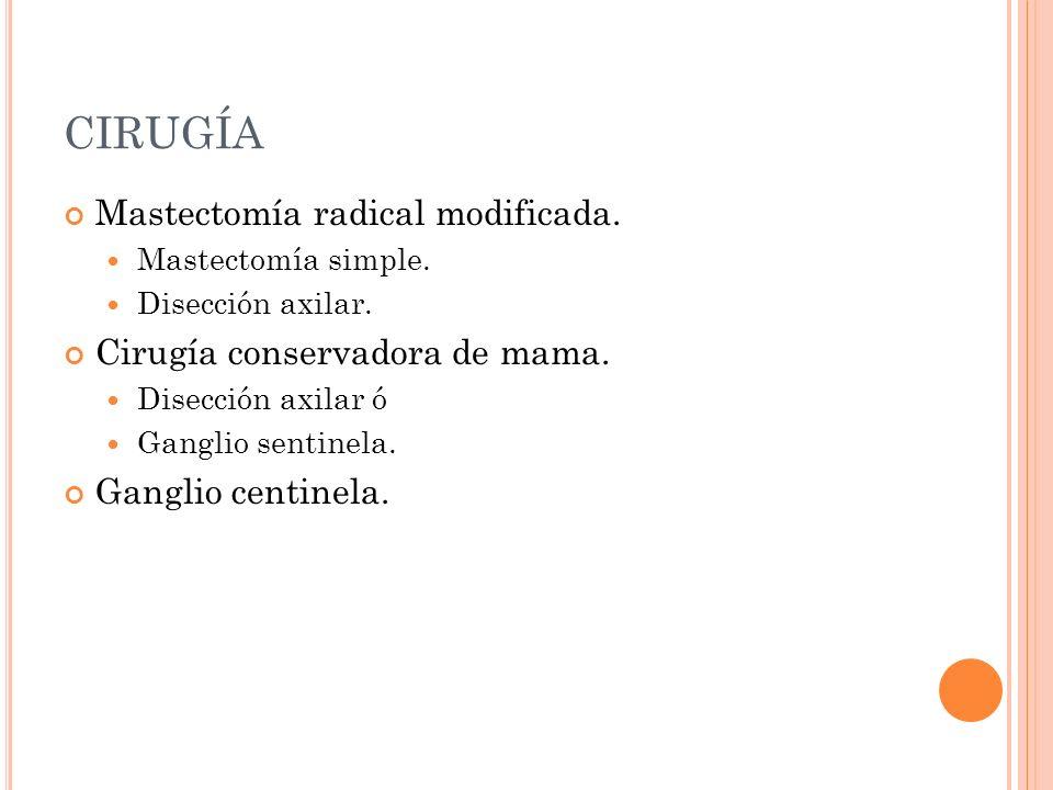 CIRUGÍA Mastectomía radical modificada. Mastectomía simple. Disección axilar. Cirugía conservadora de mama. Disección axilar ó Ganglio sentinela. Gang