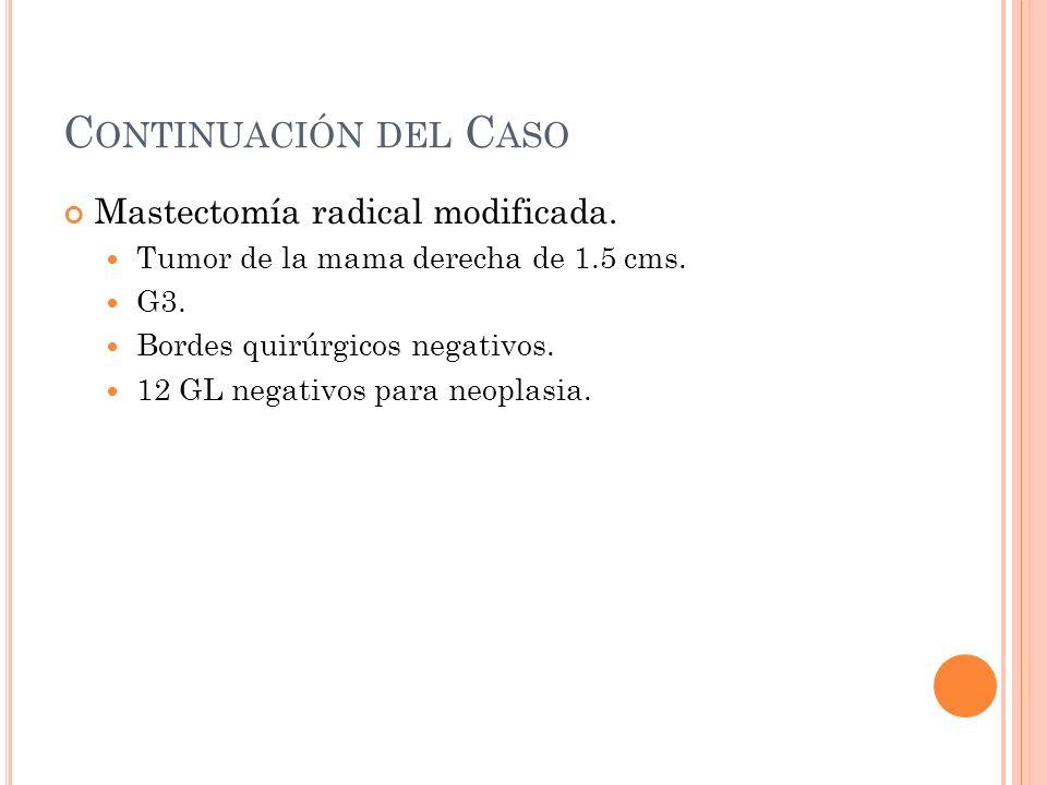 C ONTINUACIÓN DEL C ASO Mastectomía radical modificada. Tumor de la mama derecha de 1.5 cms. G3. Bordes quirúrgicos negativos. 12 GL negativos para ne