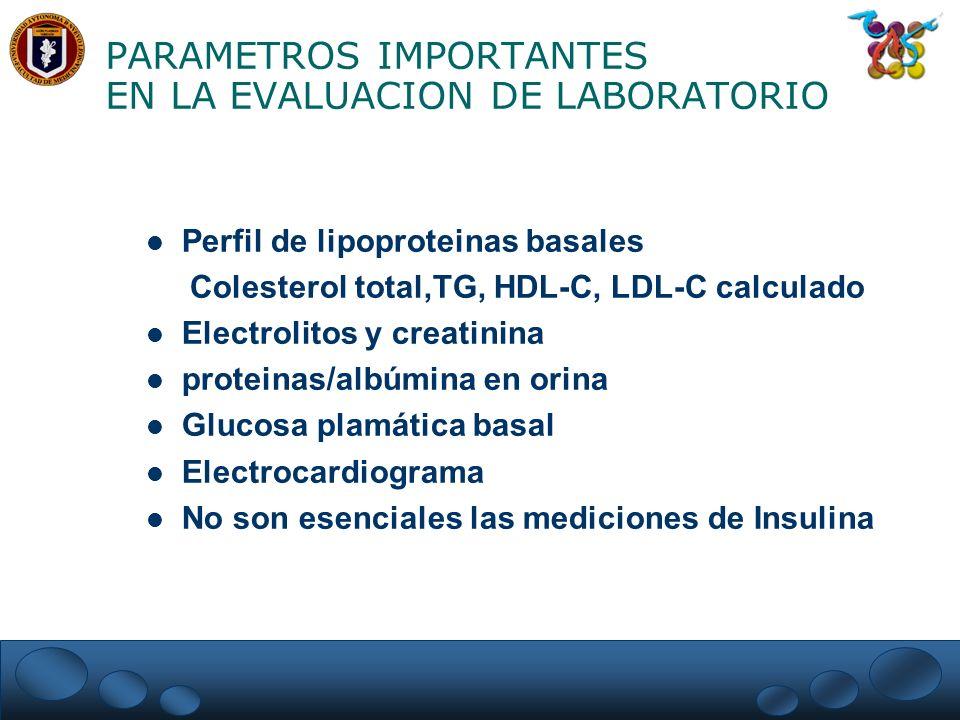 PARAMETROS IMPORTANTES EN LA EVALUACION DE LABORATORIO Perfil de lipoproteinas basales Colesterol total,TG, HDL-C, LDL-C calculado Electrolitos y crea