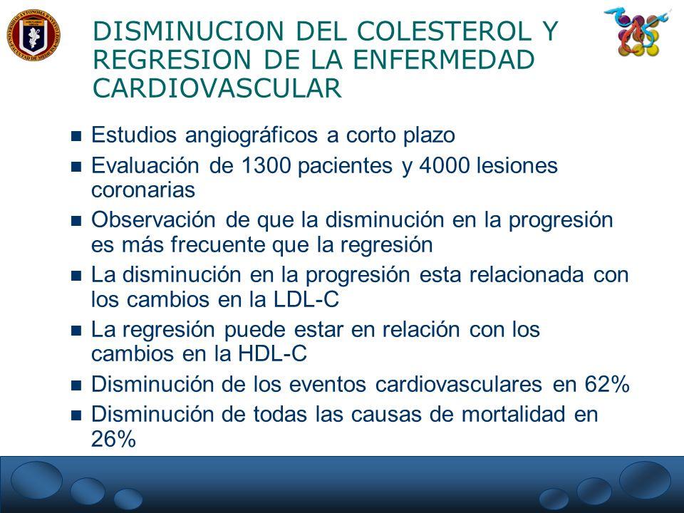 DISMINUCION DEL COLESTEROL Y REGRESION DE LA ENFERMEDAD CARDIOVASCULAR n Estudios angiográficos a corto plazo n Evaluación de 1300 pacientes y 4000 le