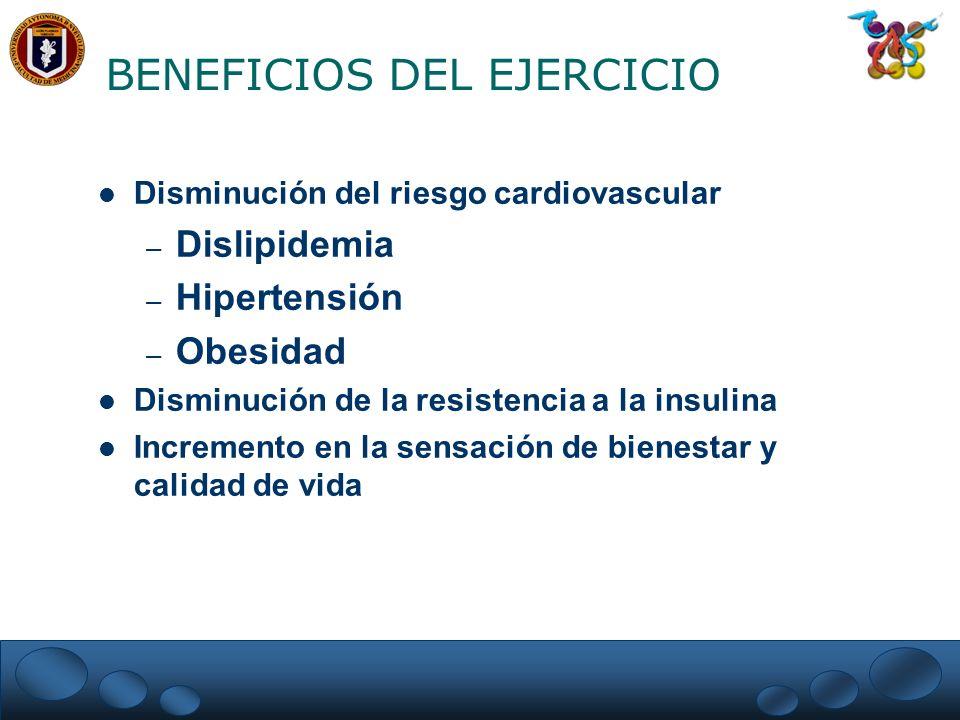 BENEFICIOS DEL EJERCICIO Disminución del riesgo cardiovascular – Dislipidemia – Hipertensión – Obesidad Disminución de la resistencia a la insulina In