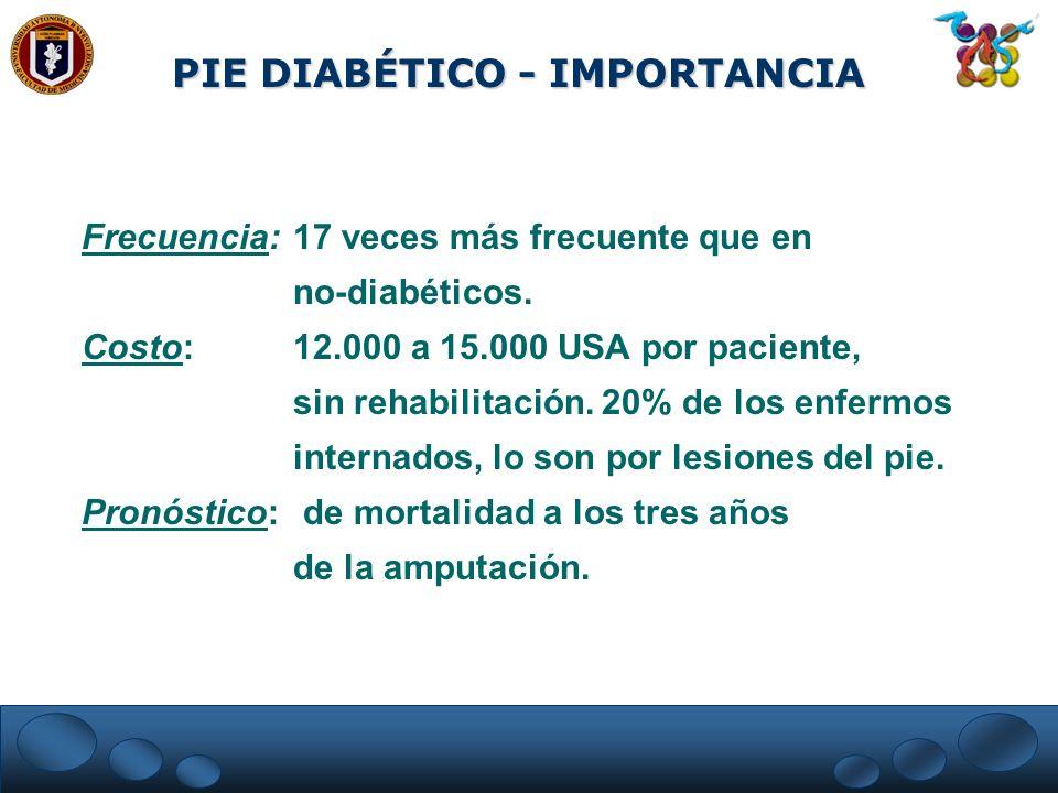 PIE DIABÉTICO - IMPORTANCIA Frecuencia: 17 veces más frecuente que en no-diabéticos. Costo:12.000 a 15.000 USA por paciente, sin rehabilitación. 20% d