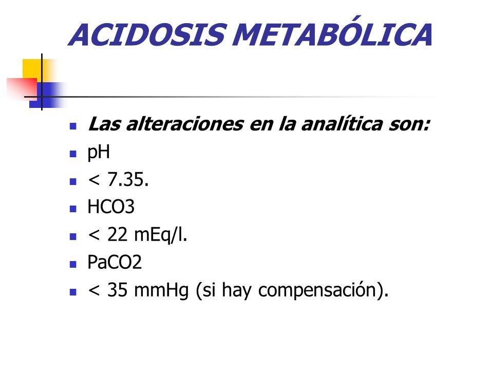ACIDOSIS METABÓLICA Las alteraciones en la analítica son: pH < 7.35. HCO3 < 22 mEq/l. PaCO2 < 35 mmHg (si hay compensación).