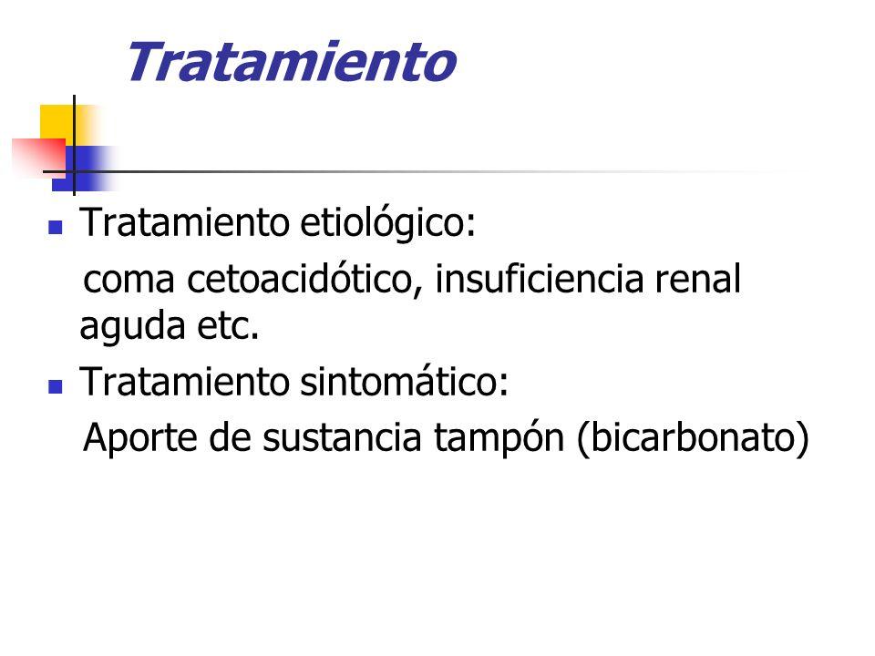 Tratamiento Tratamiento etiológico: coma cetoacidótico, insuficiencia renal aguda etc. Tratamiento sintomático: Aporte de sustancia tampón (bicarbonat