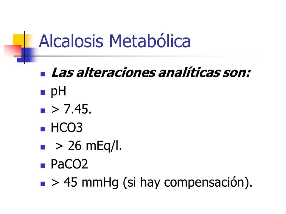 Alcalosis Metabólica Las alteraciones analíticas son: pH > 7.45. HCO3 > 26 mEq/l. PaCO2 > 45 mmHg (si hay compensación).