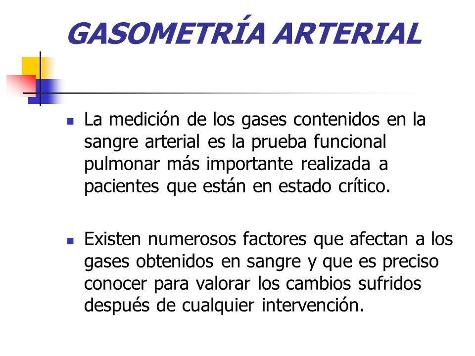 GASOMETRÍA ARTERIAL La medición de los gases contenidos en la sangre arterial es la prueba funcional pulmonar más importante realizada a pacientes que