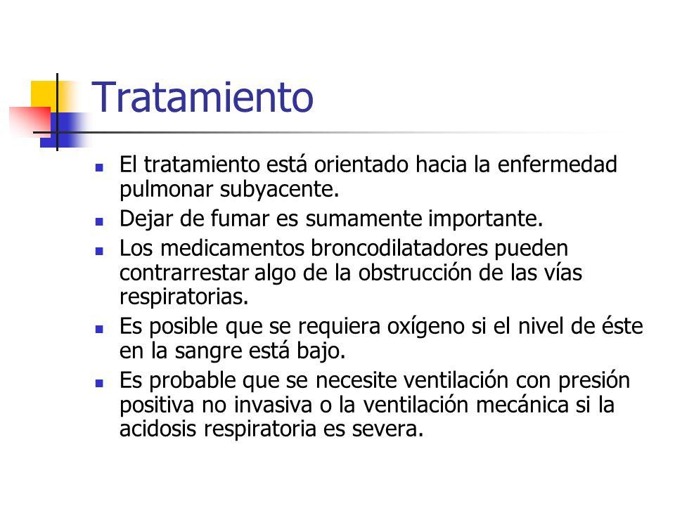 Tratamiento El tratamiento está orientado hacia la enfermedad pulmonar subyacente. Dejar de fumar es sumamente importante. Los medicamentos broncodila