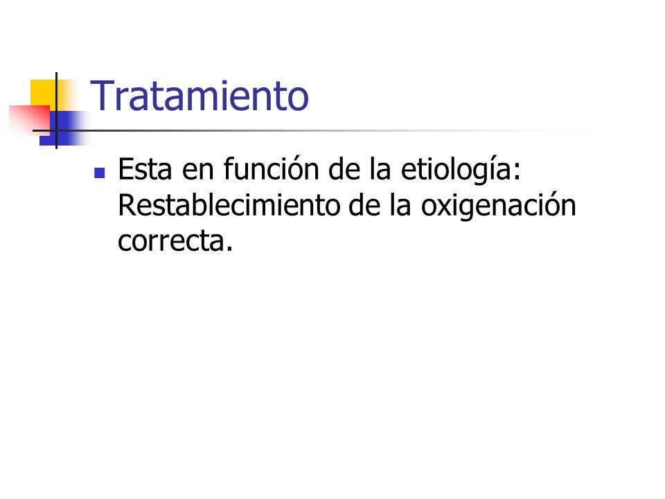 Tratamiento Esta en función de la etiología: Restablecimiento de la oxigenación correcta.