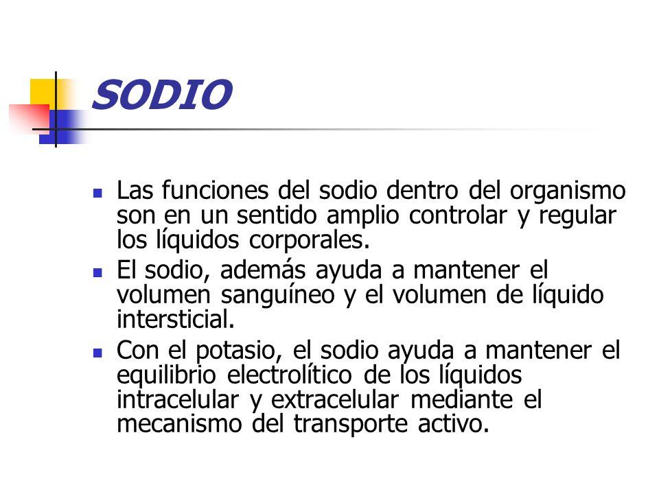 SODIO Las funciones del sodio dentro del organismo son en un sentido amplio controlar y regular los líquidos corporales. El sodio, además ayuda a mant