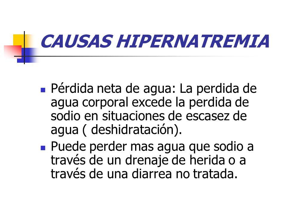 CAUSAS HIPERNATREMIA Pérdida neta de agua: La perdida de agua corporal excede la perdida de sodio en situaciones de escasez de agua ( deshidratación).