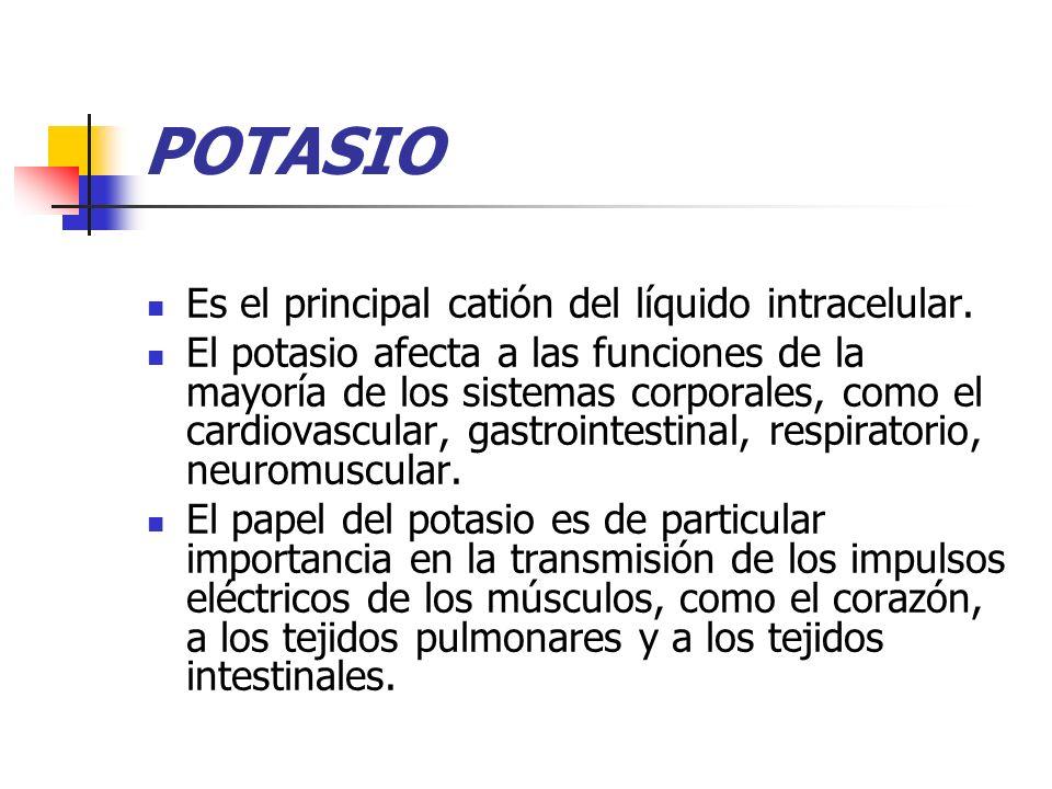 POTASIO Es el principal catión del líquido intracelular. El potasio afecta a las funciones de la mayoría de los sistemas corporales, como el cardiovas