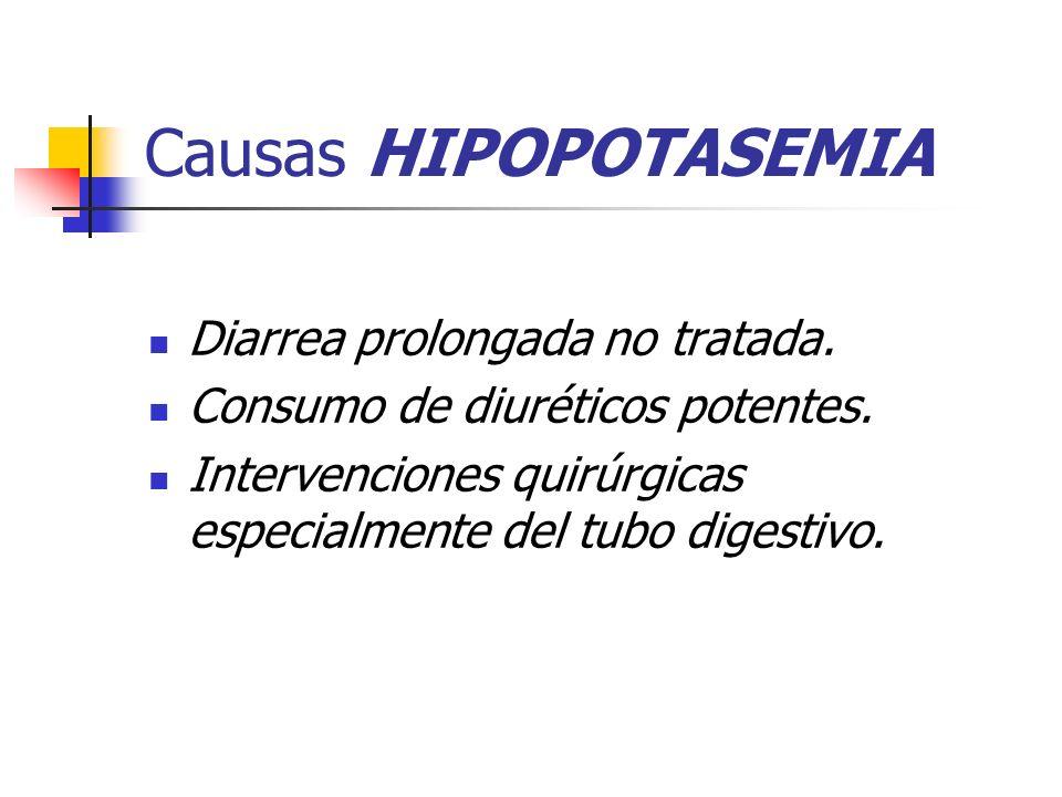 Causas HIPOPOTASEMIA Diarrea prolongada no tratada. Consumo de diuréticos potentes. Intervenciones quirúrgicas especialmente del tubo digestivo.