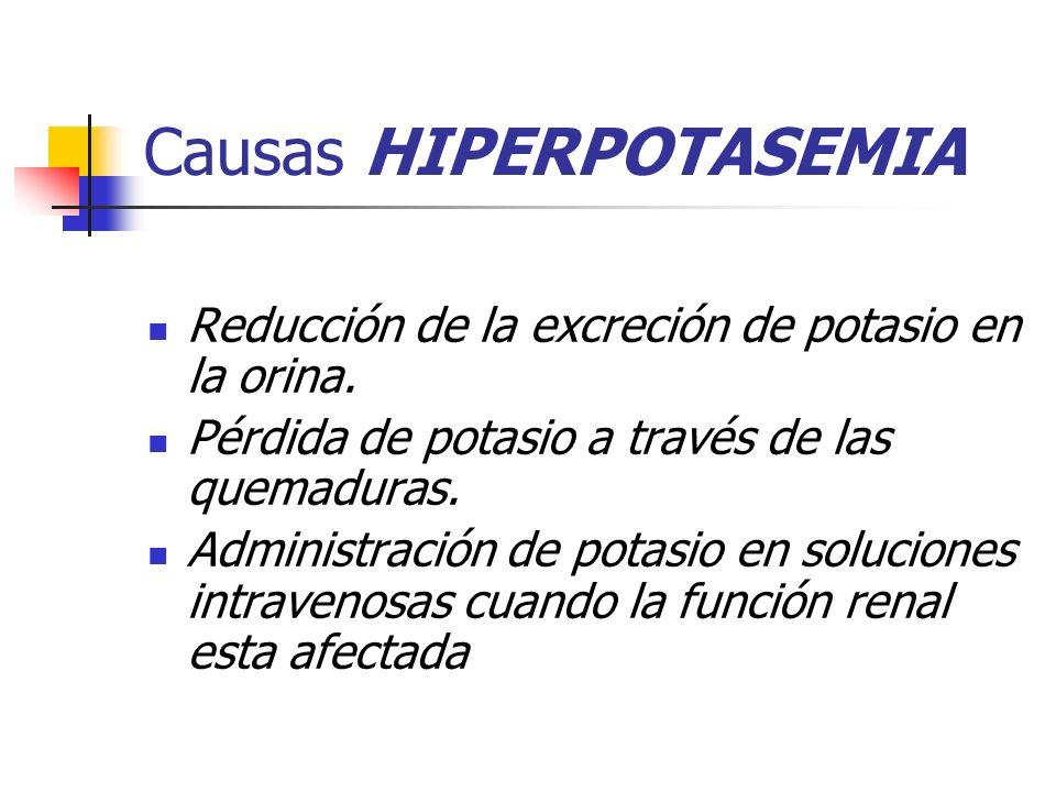 Causas HIPERPOTASEMIA Reducción de la excreción de potasio en la orina. Pérdida de potasio a través de las quemaduras. Administración de potasio en so