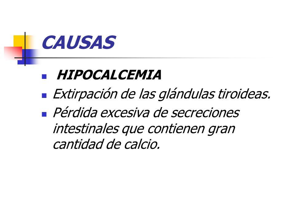 CAUSAS HIPOCALCEMIA Extirpación de las glándulas tiroideas. Pérdida excesiva de secreciones intestinales que contienen gran cantidad de calcio.