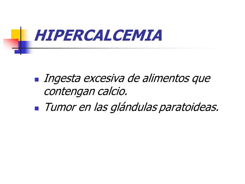 HIPERCALCEMIA Ingesta excesiva de alimentos que contengan calcio. Tumor en las glándulas paratoideas.