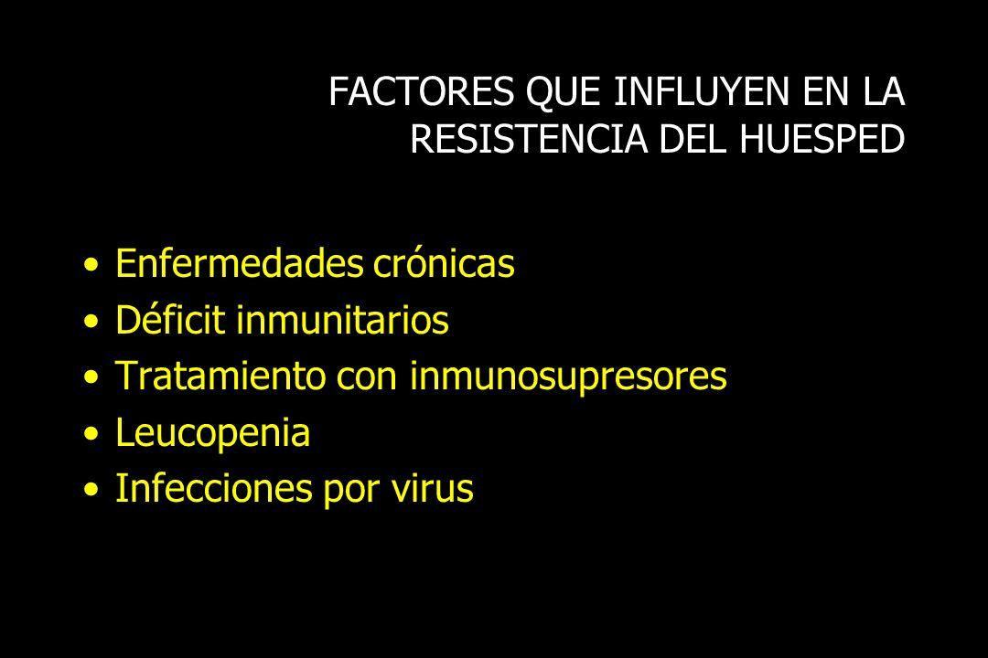FACTORES QUE INFLUYEN EN LA RESISTENCIA DEL HUESPED Enfermedades crónicas Déficit inmunitarios Tratamiento con inmunosupresores Leucopenia Infecciones