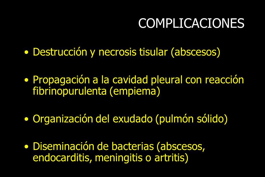COMPLICACIONES Destrucción y necrosis tisular (abscesos) Propagación a la cavidad pleural con reacción fibrinopurulenta (empiema) Organización del exu