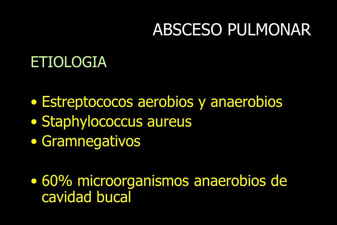 ABSCESO PULMONAR ETIOLOGIA Estreptococos aerobios y anaerobios Staphylococcus aureus Gramnegativos 60% microorganismos anaerobios de cavidad bucal