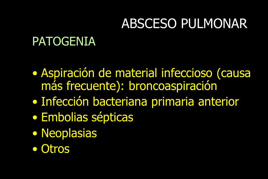 ABSCESO PULMONAR PATOGENIA Aspiración de material infeccioso (causa más frecuente): broncoaspiración Infección bacteriana primaria anterior Embolias s