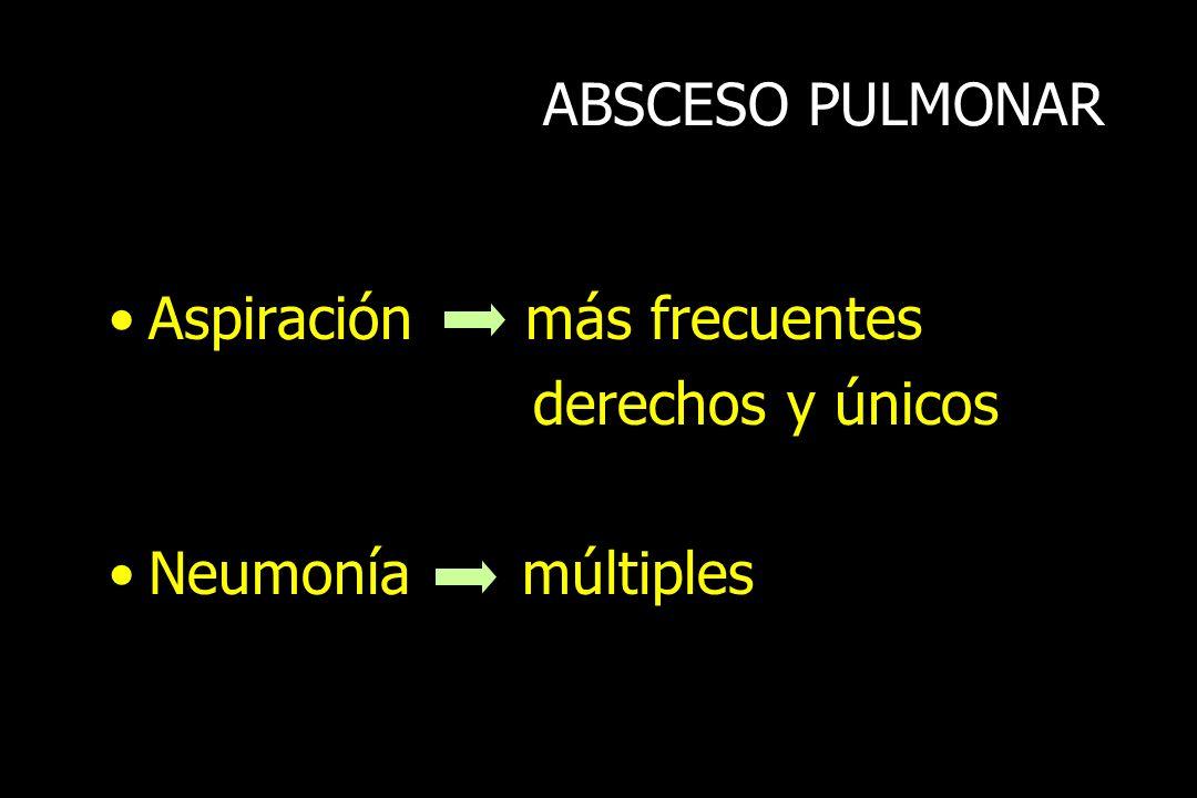 ABSCESO PULMONAR Aspiración más frecuentes derechos y únicos Neumonía múltiples
