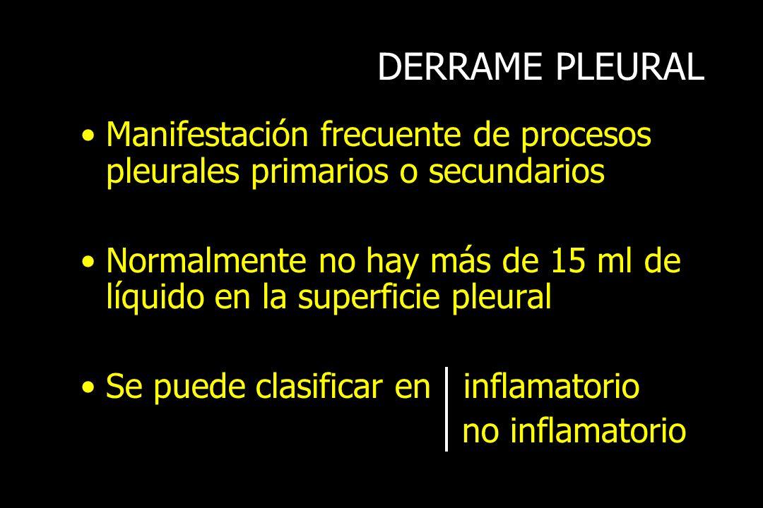 DERRAME PLEURAL Manifestación frecuente de procesos pleurales primarios o secundarios Normalmente no hay más de 15 ml de líquido en la superficie pleu