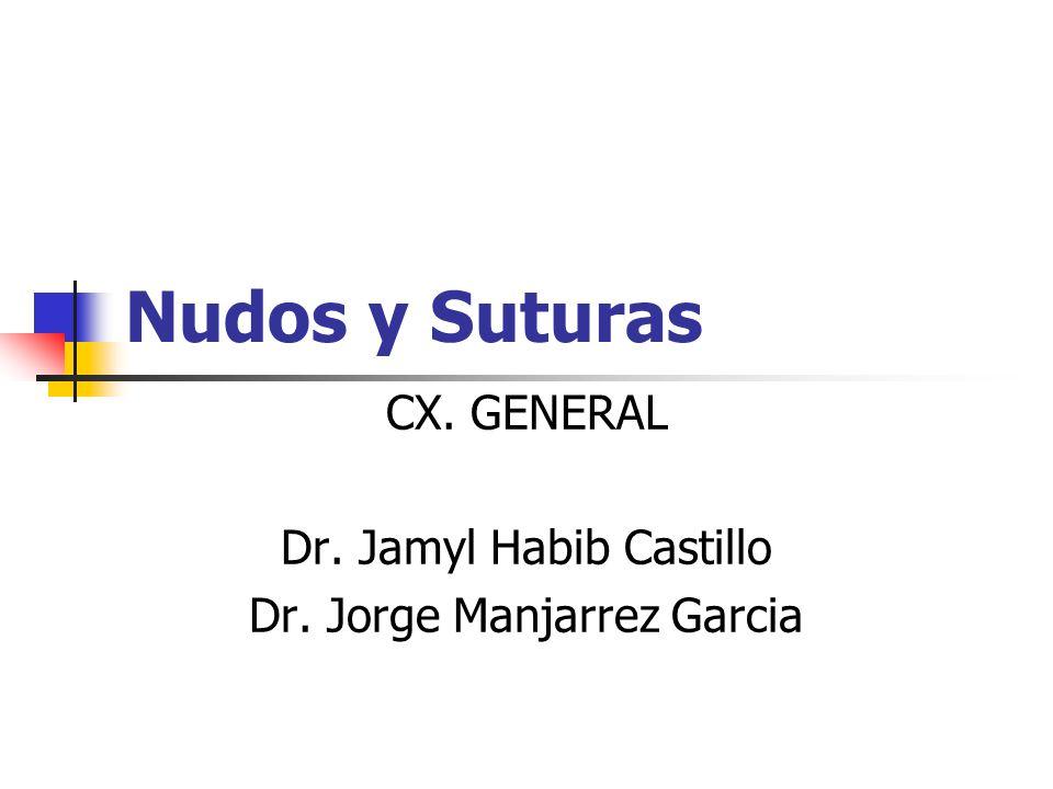 Nudos y Suturas CX. GENERAL Dr. Jamyl Habib Castillo Dr. Jorge Manjarrez Garcia