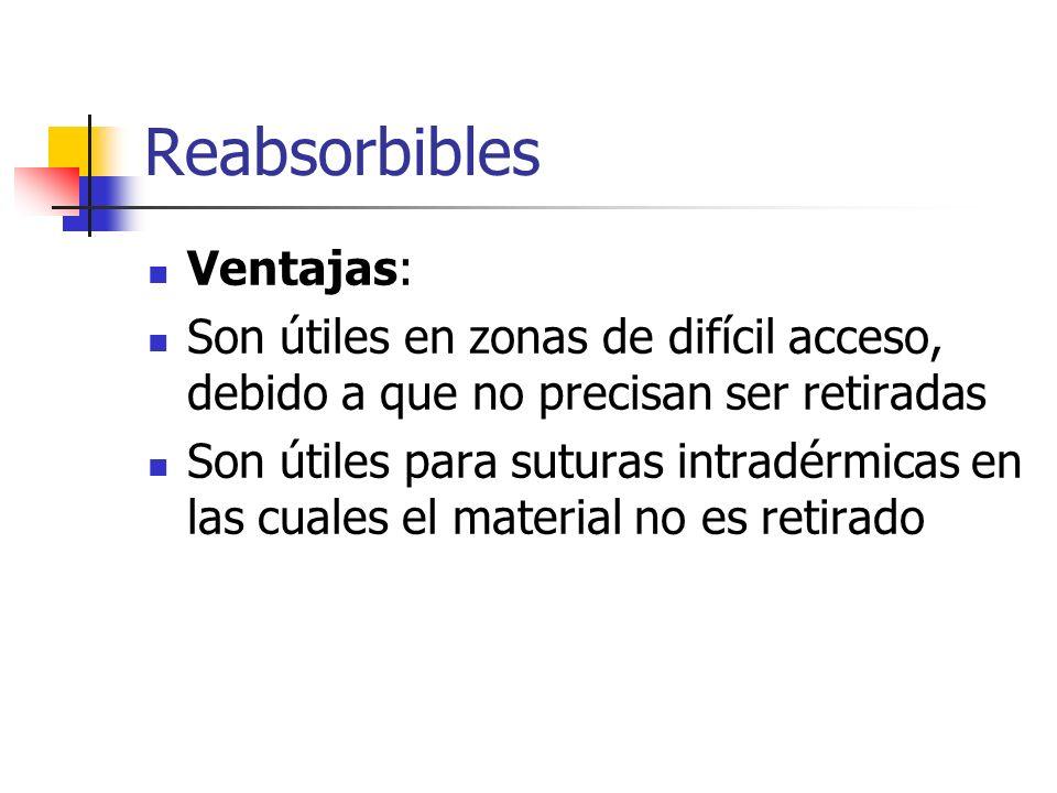 Reabsorbibles Ventajas: Son útiles en zonas de difícil acceso, debido a que no precisan ser retiradas Son útiles para suturas intradérmicas en las cua