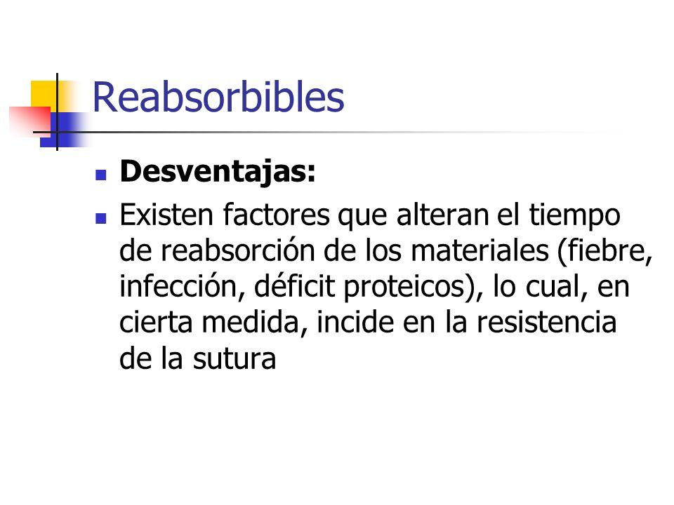 Reabsorbibles Desventajas: Existen factores que alteran el tiempo de reabsorción de los materiales (fiebre, infección, déficit proteicos), lo cual, en