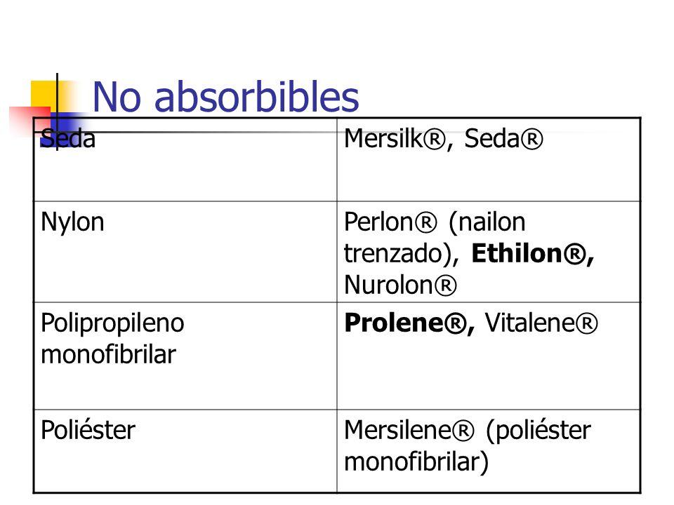 No absorbibles SedaMersilk®, Seda® NylonPerlon® (nailon trenzado), Ethilon®, Nurolon® Polipropileno monofibrilar Prolene®, Vitalene® PoliésterMersilen