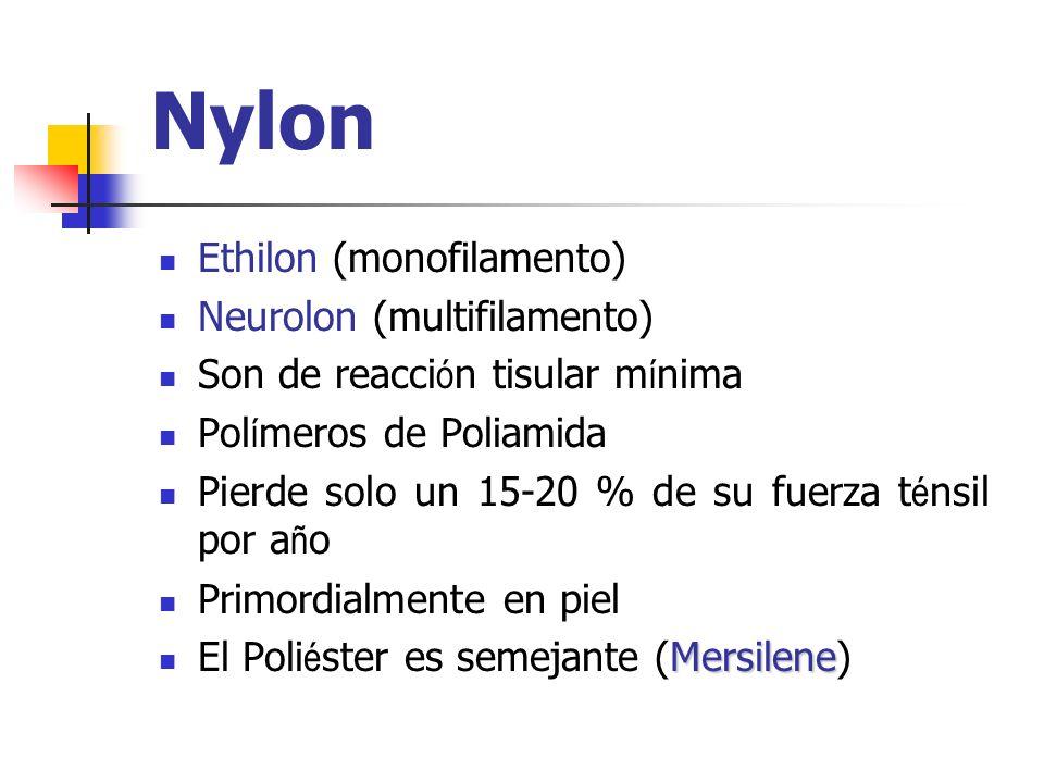 Nylon Ethilon (monofilamento) Neurolon (multifilamento) Son de reacci ó n tisular m í nima Pol í meros de Poliamida Pierde solo un 15-20 % de su fuerz
