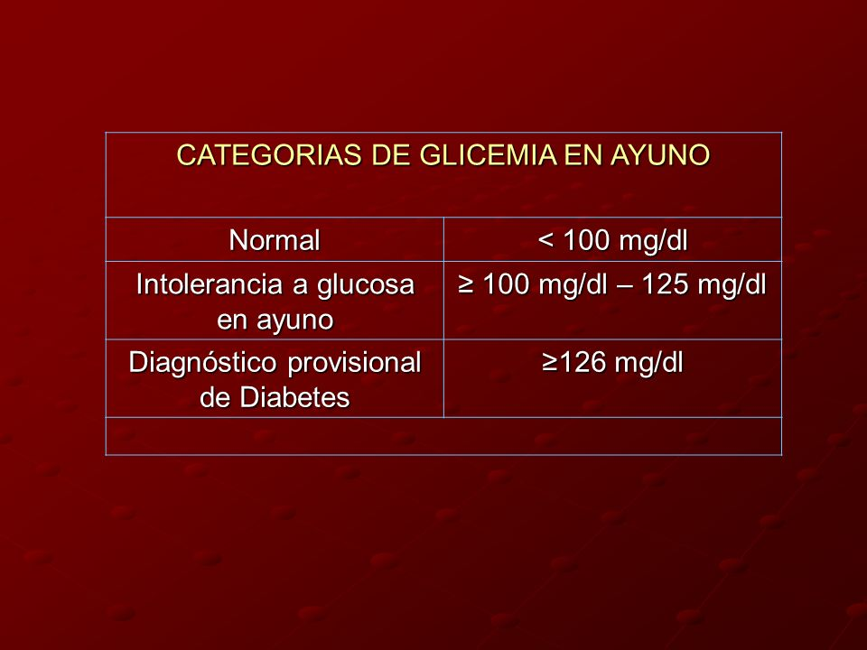 CATEGORIAS DE GLICEMIA EN AYUNO Normal < 100 mg/dl Intolerancia a glucosa en ayuno 100 mg/dl – 125 mg/dl 100 mg/dl – 125 mg/dl Diagnóstico provisional