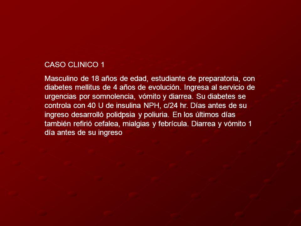 CASO CLINICO 1 Masculino de 18 años de edad, estudiante de preparatoria, con diabetes mellitus de 4 años de evolución. Ingresa al servicio de urgencia