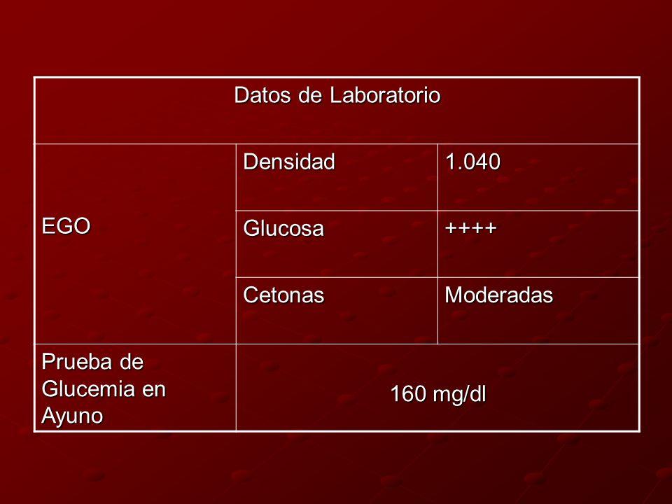 Datos de Laboratorio EGODensidad1.040 Glucosa++++ CetonasModeradas Prueba de Glucemia en Ayuno 160 mg/dl