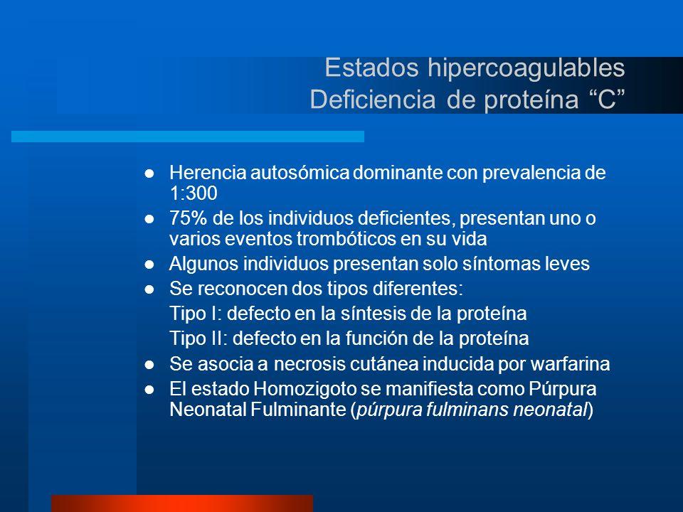 Estados hipercoagulables Deficiencia de proteína S Herencia autosómica dominante con prevalencia de eventos trombóticos de 40% a 70% de los individuos deficientes Difícil de estudiar por el laboratorio ya que el 60% de la proteína se encuentra unida a una proteína transportadora para la fracción C4b del complemento Sólo la Proteína S libre es la que actúa como cofactor El estado hipercoagulable se presenta al haber una disminución de un 50% a 60% de la proteína total No se cuenta con ensayos de laboratorio que estudien la función de la proteína S Es dependiente de la vitamina K por lo que se puede asociar con necrosis cutánea