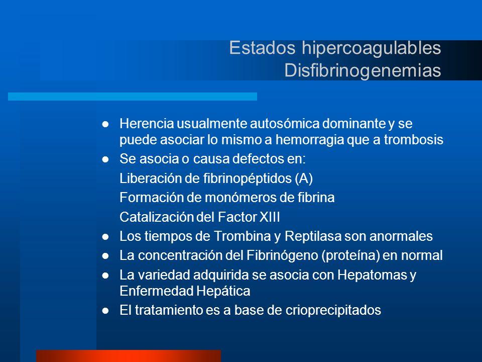 Estados hipercoagulables Hiper homocistinemia (uria) La Homocistinuria es bien conocida como causa de Enfermedad Vascular Oclusiva en edad temprana El estado homozigoto tiene una prevalencia de 1:20 a 1:200 30% de los individuos con Enfermedad Vascular Oclusiva periférica o cerebral menores de 50 años, son heterozigotos para la homocistinuria Se recomienda el tratamiento con Piridoxina