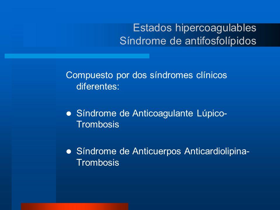Estados hipercoagulables Antifosfolípidos anticardiolipina Son más frecuentes que el Anticoagulante lúpico en proporción de 5 a 6:1 Se asocia con Trombosis tanto arterial como venosa, Pérdida fetal o Aborto Habitual y Trombocitopenia Se ha clasificado en Primarios y Secundarios