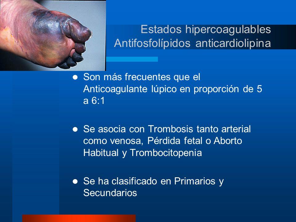 Estados hipercoagulables Antifosfolípidos anticardiolipina Tipo I Trombosis Venosa Profunda con o sin Embolismo Pulmonar Tipo II Trombosis Arterial Coronaria Trombosis Arterial Periférica Trombosis Aórtica Trombosis Arterial Carotídea Tipo III Trombosis de las Arterias de la Retina Trombosis de las Venas de la Retina Trombosis Cerebrovascular Izquemia Cerebral Transitoria