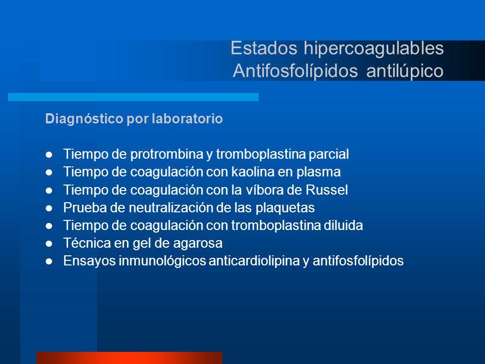 Estados hipercoagulables Antifosfolípidos antilúpico Prueba de laboratorio Tiempo de protrombina Tiempo de tromboplastina parcial Tiempo de coagulación con factor tisular Fosfolípidos diluidos Inmunológicos Eficacia diagnóstica Limitada, solo sensible a títulos altos Examen útil.