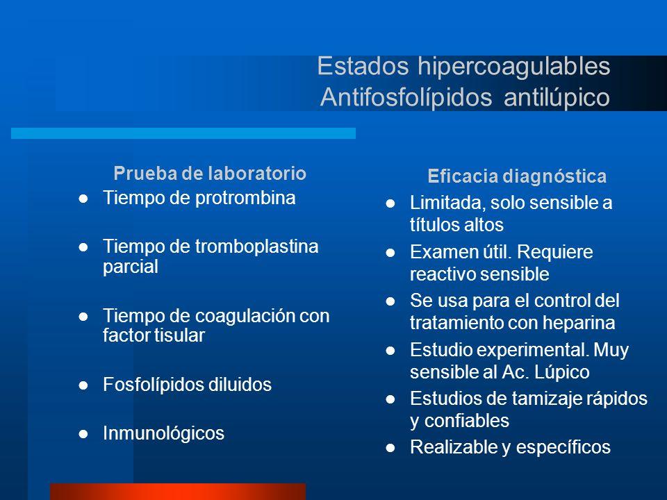 Estados hipercoagulables Antifosfolípidos Quien debe ser evaluado para buscar este síndrome.