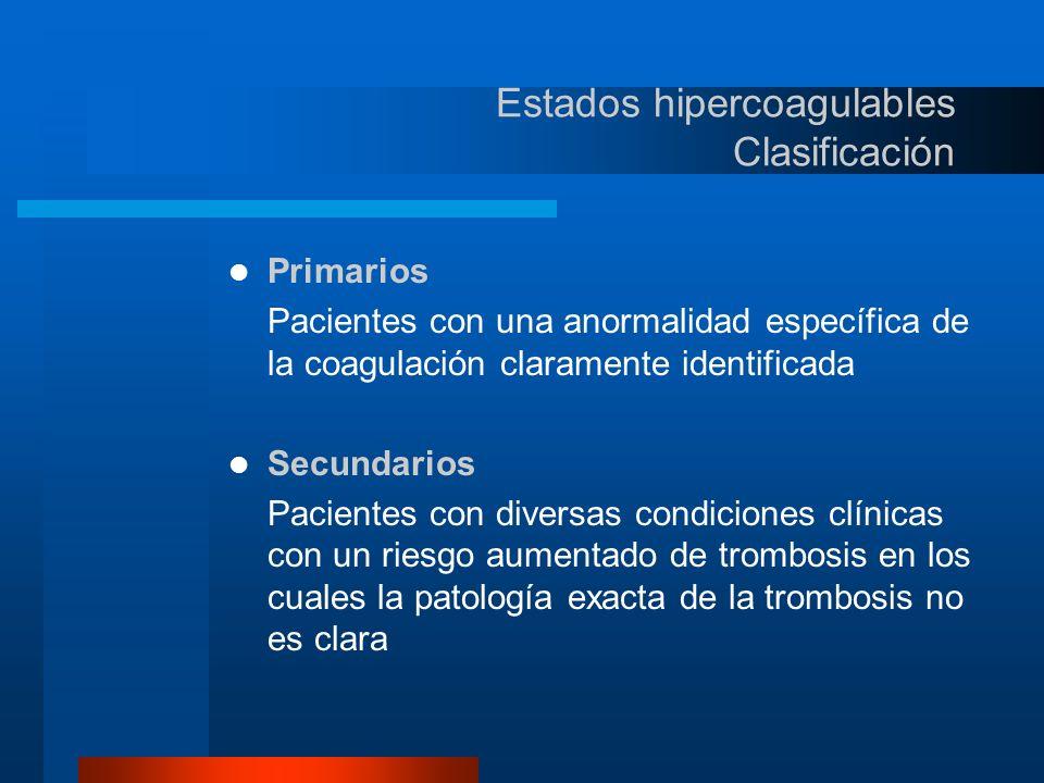 Estados hipercoagulables Primarios Deficiencia de Antitrombina III Deficiencia de las proteínas C y S de la coagulación Resistencia a la Proteína Ca (Mutación de Leiden) y Mutación del Gen de la Protrombina A20210 Hiperhomocistinemia Alteraciones del Sistema de la Fibrinolísis – Hipoplasminogenemia – Plasminógeno anormal – Deficiencia del Activador del Plasminógeno Disfibrinogenemia Deficiencia el factor XII Síndrome de Antifosfolípidos Primario