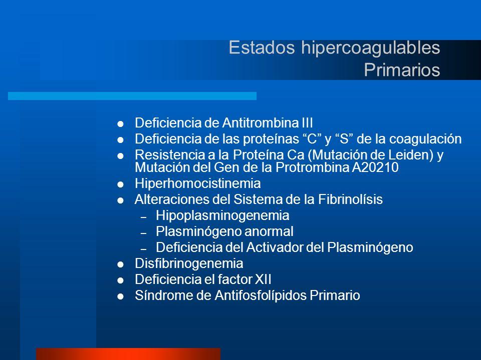 Estados hipercoagulables Secundarios(1) Alteraciones de la Coagulación y Fibrinolisis Cáncer Embarazo Síndrome nefrótico Alteraciones de las Plaquetas Síndromes Mieloproliferativos H.P.N.