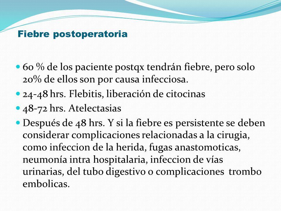 Fiebre postoperatoria 60 % de los paciente postqx tendrán fiebre, pero solo 20% de ellos son por causa infecciosa. 24-48 hrs. Flebitis, liberación de